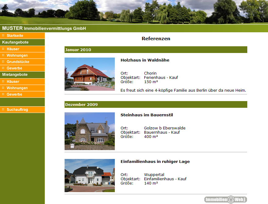 referenzliste auf der makler internetseite maklersoftware. Black Bedroom Furniture Sets. Home Design Ideas